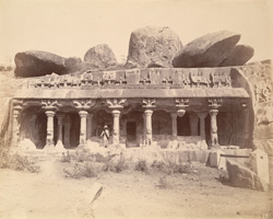 General view of the entrance to the Pancha Pandava Mandapa, Mamallapuram